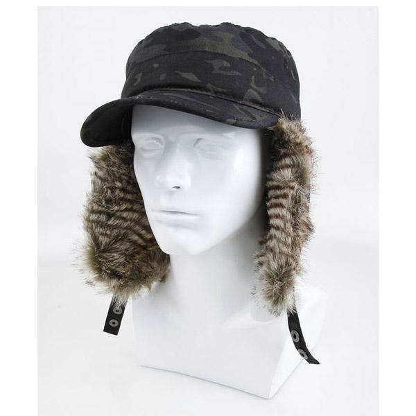 マルチカムブラック,迷彩,カモ柄,スキーキャップ,ロシア帽子,パイロットキャップ,耳あて付きキャップ,キャップ,帽子,TMC,